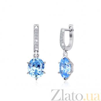 Серебряные серьги-подвески с голубыми фианитами Луизина SLX--СК2ФТ/391