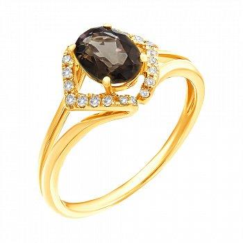 Кольцо из желтого золота с раухтопазами и бриллиантами 000139363