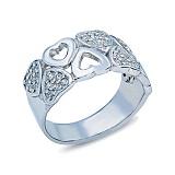 Серебряное кольцо с фианитами Сердца