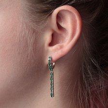 Серебряные серьги-подвески Паула с зеленым кварцем