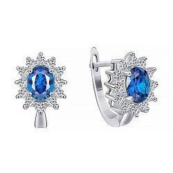 Серебряные серьги Дарла с синими и белыми фианитами