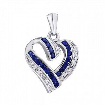 Серебряная подвеска с сапфирами и бриллиантами 000022246