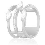 Кольцо из серебра Эльвита с фианитами