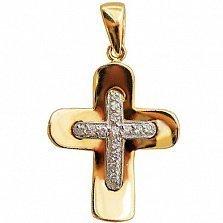 Золотой крестик Божественное Лоно с фианитами