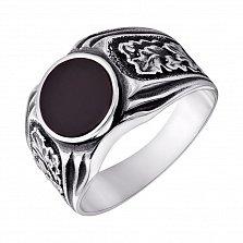 Серебряное черненное кольцо-печатка Сила дуба с ониксом