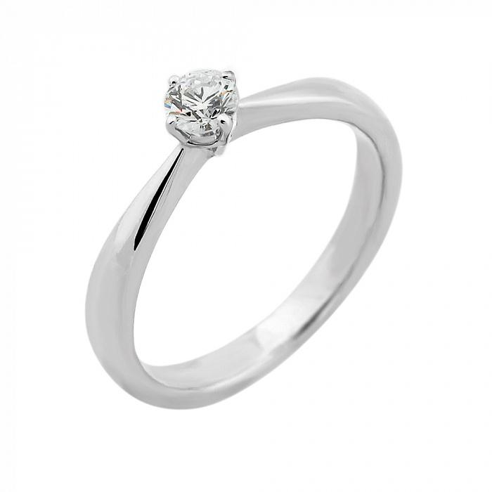 Золотое помолвочное кольцо Италия в белом цвете с бриллиантом VLA--14579