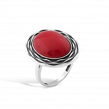 Серебряное кольцо Марсела с чернением, жабо и имитацией коралла