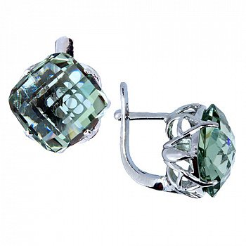 Серебряные серьги с празиолитом 000022290