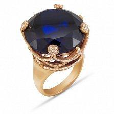 Золотое кольцо Вайнона с кастом-короной, синей синтезированной шпинелью и фианитами