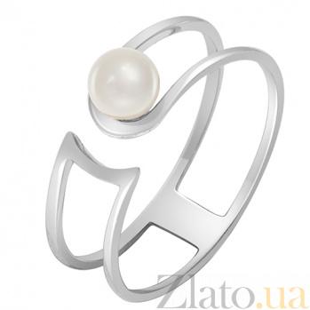 Кольцо в белом золоте Тихая гавань с жемчугом 000032810