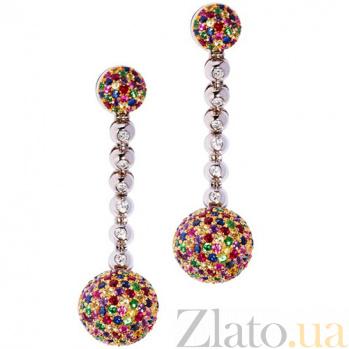 Золотые серьги с драгоценными камнями Монпансье KBL--С2205/бел/руб