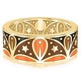 Мужское обручальное кольцо из желтого золота с эмалью Талисман: Добра