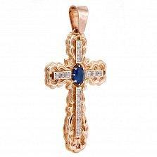 Золотой крестик Аура в комбинированном цвете с узорной основой, фианитами и надписью Спаси и Сохрани