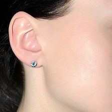 Серебряные серьги с кварцем London blue и цирконием Дженифер