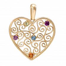 Кулон из желтого золота с аметистом, топазом, турмалином и цитрином Сияние сердца