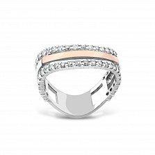 Серебряное кольцо Мануэла с золотой накладкой, фианитами и родием