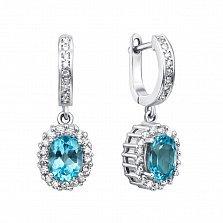 Серебряные серьги-подвески с голубыми топазами и фианитами 000132125