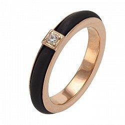 Кольцо в красном золоте с каучуком и фианитом 000047994