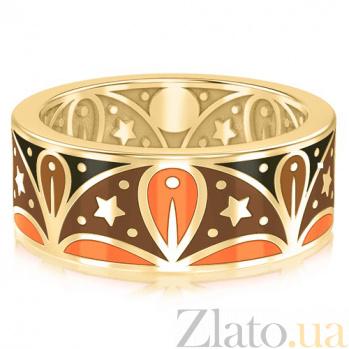 Мужское обручальное кольцо из желтого золота с эмалью Талисман: Добра 3074