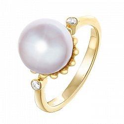 Золотое кольцо в желтом цвете с лавандовым жемчугом и бриллиантами 000064830