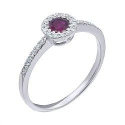 Кольцо из белого золота с рубином и бриллиантами 000139370