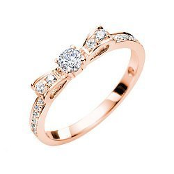 Золотое кольцо в красном цвете с бриллиантами, 0,32ct 000070584