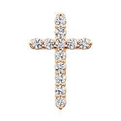 Золотой крестик с цирконием Swarovski 000049414