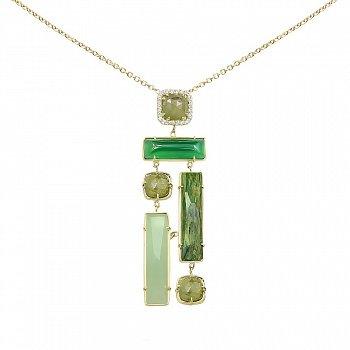 Колье из желтого золота с жадеитом, зеленым авантюрином, корундом, халцедоном и фианитами 000081359