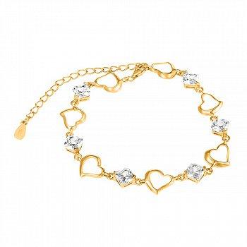 Серебряный браслет с цирконием и позолотой 000025867