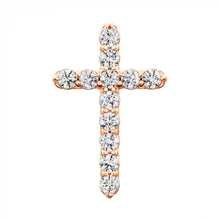 Золотой крестик с цирконием Swarovski 000049414 000049414