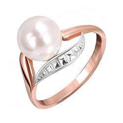 Серебряное кольцо с позолотой, искусственным жемчугом и фианитами 000025450