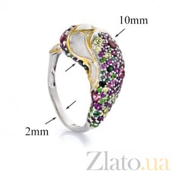 Серебряное кольцо Дельфин с гранатами, турмалинами и хризолитами 000027232