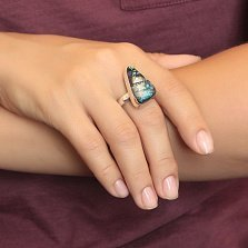 Серебряное кольцо Тропическая геометрия с имитацией опала