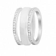 Серебряное кольцо-трансформер Modern Fashion с белой керамикой и цирконием