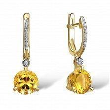 Серьги из желтого золота Беата с бриллиантами и цитринами