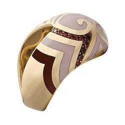 Кольцо в желтом золоте с бриллиантами и эмалью 000073403