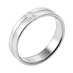 Обручальноекольцо из белого золота с бриллиантом 000126451
