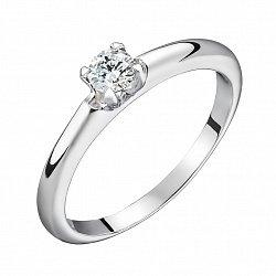 Золотое кольцо Свет любви в белом цвете с бриллиантом 0,3ct