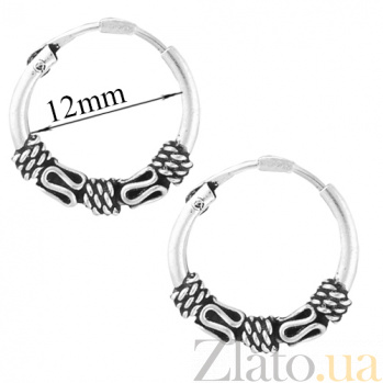 Серебряные сережки-конго Метида SLX--С5/323