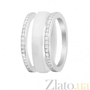 Серебряное кольцо-трансформер Modern Fashion с белой керамикой и цирконием 000030992