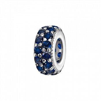 Срібний шарм з синіми фіанітами 000118330