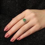 Серебряное кольцо Кира с изумрудом и цирконием