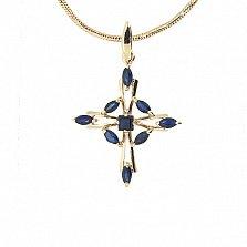Золотой декоративный крест в красном цвете с сапфирами Вена