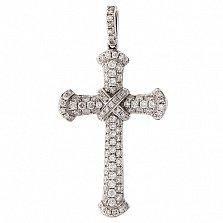 Золотой крест Альвен с белыми бриллиантами