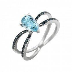Кольцо из белого золота с голубыми бриллиантами и топазом 000080882