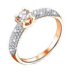 Кольцо в красном золоте с бриллиантами 000117687