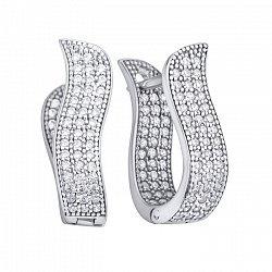 Серебряные серьги Узорная грация с фианитами на внутренней и внешней поверхности