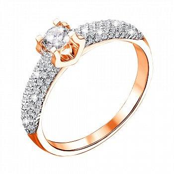 Каблучка в червоному золоті з діамантами 000117687