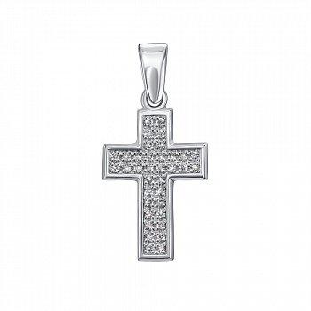Золотий декоративний хрестик в білому кольорі з діамантами 000117262