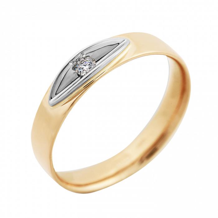 Золотое кольцо Эльче в комбинированном цвете с бриллиантом VLA--15820